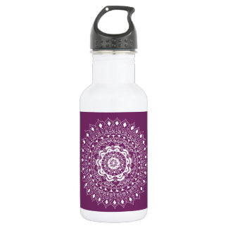 Hand Illustrated Artsy Floral Mandala Pen Art Stainless Steel Water Bottle