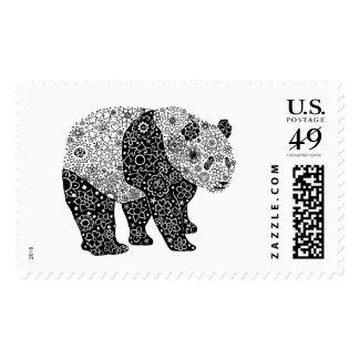 Hand Illustrated Artsy Floral Panda Bear Pen Art Postage