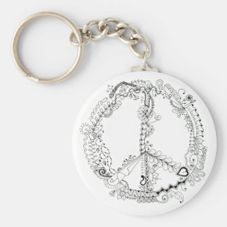 Hand Illustrated Artsy Floral Peace Sign Basic Round Button Keychain