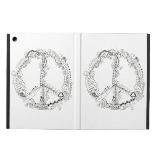 Hand Illustrated Artsy Floral Peace Sign Cover For iPad Air