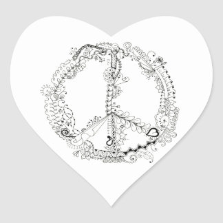 Hand Illustrated Artsy Floral Peace Sign Heart Sticker