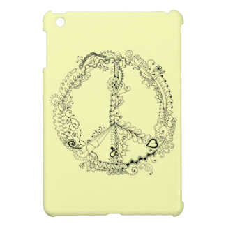 Hand Illustrated Artsy Floral Peace Sign iPad Mini Covers