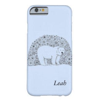 Hand Illustrated Artsy Floral Polar Bear Barely There iPhone 6 Case