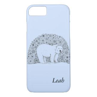 Hand Illustrated Artsy Floral Polar Bear iPhone 7 Case