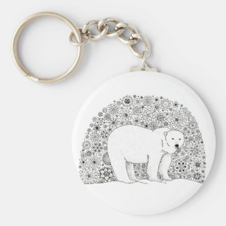 Hand Illustrated Artsy Floral Polar Bear Keychain