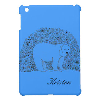 Hand Illustrated Artsy Floral Polar Bear Pen Art iPad Mini Cover