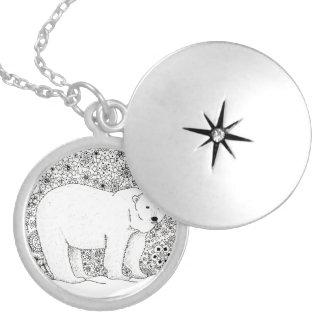 Hand Illustrated Artsy Floral Polar Bear Pen Art Locket Necklace