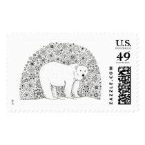 Hand Illustrated Artsy Floral Polar Bear Pen Art Postage