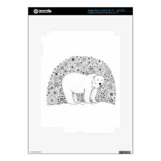 Hand Illustrated Artsy Floral Polar Bear Pen Art Skin For iPad 3