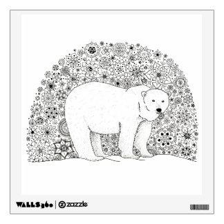 Hand Illustrated Artsy Floral Polar Bear Wall Sticker