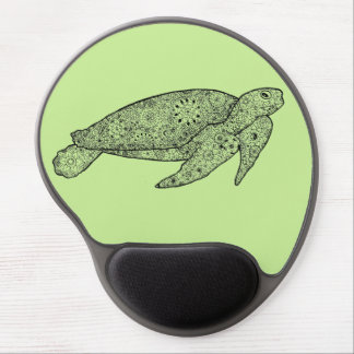 Hand Illustrated Artsy Floral Sea Turtle Gel Mouse Pad