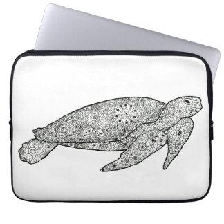 Hand Illustrated Artsy Floral Sea Turtle Laptop Sleeve