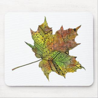 Hand Illustrated Artsy Maple Leaf Mouse Pad