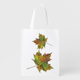 Hand Illustrated Artsy Maple Leaf Reusable Grocery Bags
