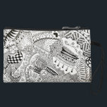 """hand illustrated black and white cosmetic pouch<br><div class=""""desc"""">This item is designed by illustrator Niveditha who is a student of NAFA,  Singapore. She is passionate ,  experienced in various forms of art!</div>"""