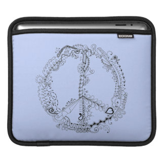 Hand Illustrated Floral Peace Sign Pen Art iPad Sleeve