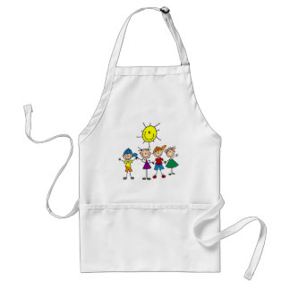 Hand in Hand Stick Figure Kids Tshirts and Gifts Aprons