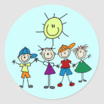Hand in Hand Stick Figure Kids Tshirts and Gifts Classic Round Sticker