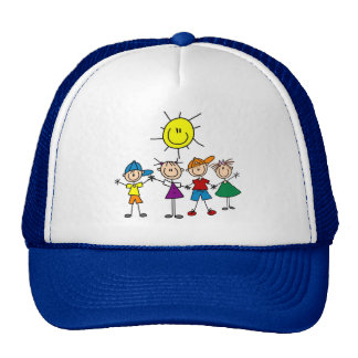 Hand in Hand Stick Figure Kids Tshirts and Gifts Hat