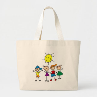 Hand in Hand Stick Figure Kids Tshirts and Gifts Jumbo Tote Bag