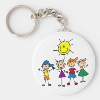 Hand in Hand Stick Figure Kids Tshirts and Gifts Basic Round Button Keychain