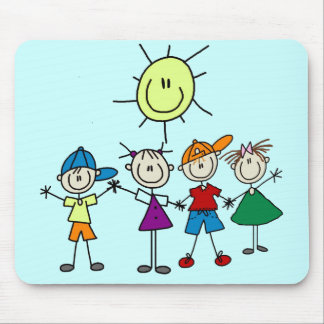 Hand in Hand Stick Figure Kids Tshirts and Gifts Mouse Pad