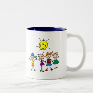 Hand in Hand Stick Figure Kids Tshirts and Gifts Mugs