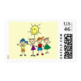 Hand in Hand Stick Figure Kids Tshirts and Gifts Postage Stamp
