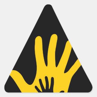 Hand in hand triangle sticker