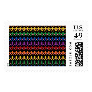 Hand in Hand with Love Pattern Art Postage Stamp