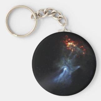 Hand In Space Basic Round Button Keychain