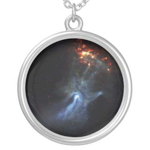 Hand In Space Round Pendant Necklace