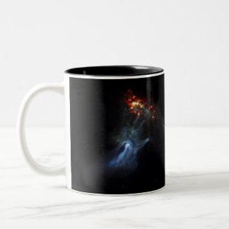 Hand In Space Two-Tone Coffee Mug