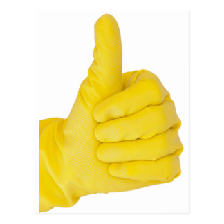 Hand in yellow latex glove postcard