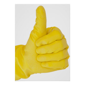 Hand in yellow latex glove posters