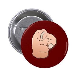 Hand index finger hand pointer finger 2 inch round button