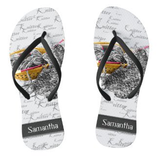 Hand Knit Black and White Yarn Personalized Flip Flops