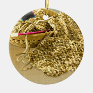 Hand Knit Chenille Yarn Ceramic Ornament
