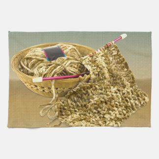 Hand Knit Chenille Yarn Kitchen Towels
