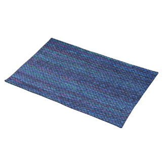 Hand knit garter stitch placemat - ultramarine cloth placemat