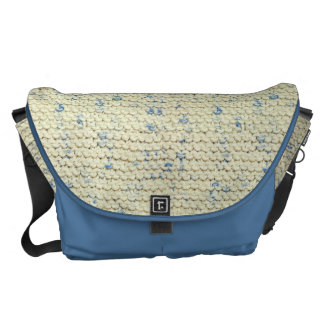 Hand Knit Garter Stitch with Cream and Blue Yarn Courier Bag