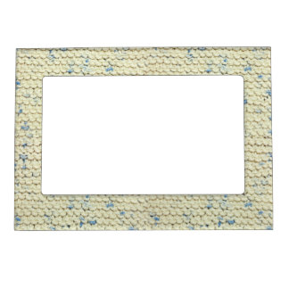 Hand Knit Garter Stitch with Cream and Blue Yarn Magnetic Frame