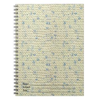 Hand Knit Garter Stitch with Cream and Blue Yarn Notebook