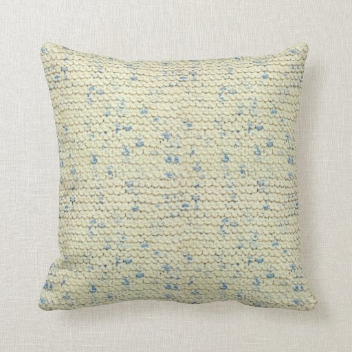 Knitting Garter Stitch Left Handed : Hand Knit Garter Stitch with Cream and Blue Yarn Throw Pillow Zazzle
