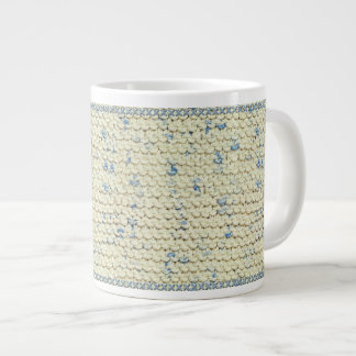 Hand Knit Garter Stitch with Cream and Blue Yarn 20 Oz Large Ceramic Coffee Mug