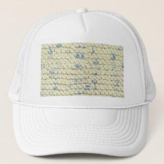 Hand Knit Garter Stitch with Cream and Blue Yarn Trucker Hat
