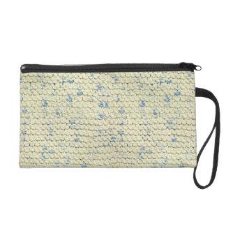 Hand Knit Garter Stitch with Cream and Blue Yarn Wristlet Purse