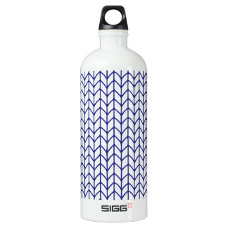 Hand Knit - Navy/White Water Bottle