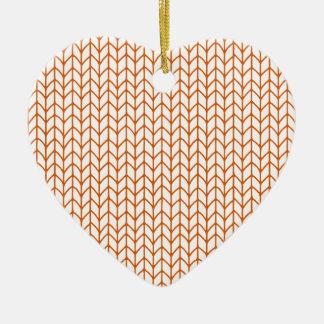 Hand Knit Pumpkin/White Ceramic Ornament