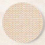 Hand Knit Pumpkin/White Drink Coaster